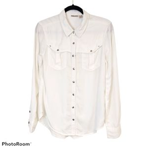 Holding Horses White Western Button Up Blouse sz 6